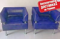 Кресло из кожзама для офиса Тонус синий