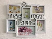 Мультирамка Love для фотографий на стену - форма сердец на 6 фото