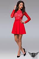 Платье верх гипюр, юбка клеш с рукавами  Красное Бордовое