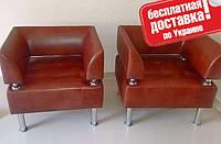 Кресло из кожзама для офиса Тонус бордовый, фото 1