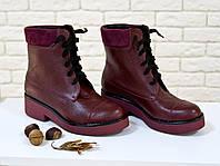 Ботинки женские бордового цвета  цвета на шнуровке
