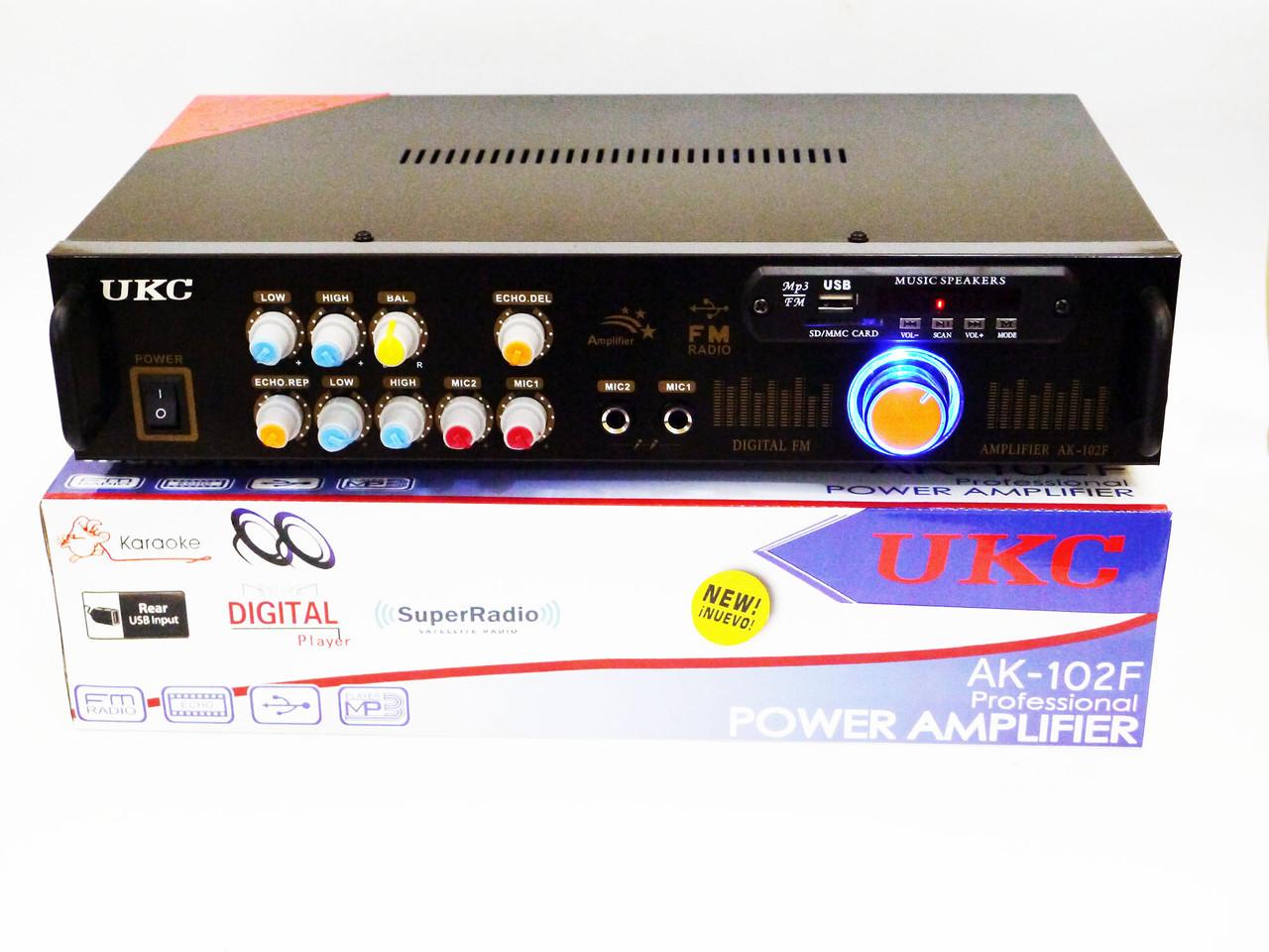 Усилитель звука UKC AK-102F + USB + КАРАОКЕ 2микрофона