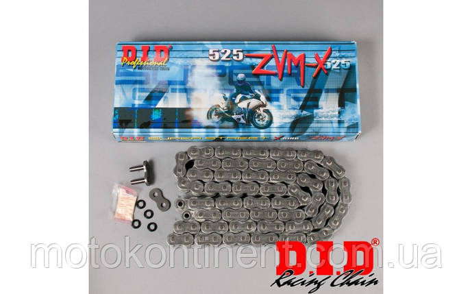 Мото ланцюг 525 DID 525ZVM-X 100 сталева для мотоцикла ( в к-ті замок ZJ) сальник X 2 -Ring, фото 2