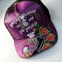 Бейсболка фиолетовая с вышивкой и стразами