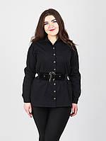 Классическая женская рубашка черного цвета увеличенных размеров