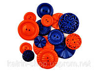 Пуговицы Fashion Button Medley, Forever in Time, набор из 15 шт Orange and Darck Blue