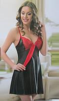 Женская шелковая ночнушка с кружевом, фото 1