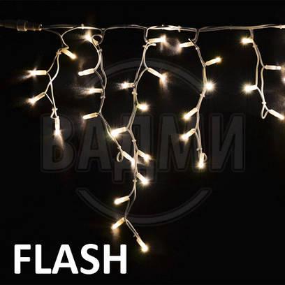Мерцающая LED гирлянда Бахрома Айсикл Флеш, 300 св, 5x0.5 м, с коннектором для удлинения цепи