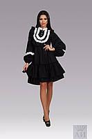 Модное свободное черное  платье с белым кружевом, с рюшами и жемчужными пуговками  . Арт-9845/17