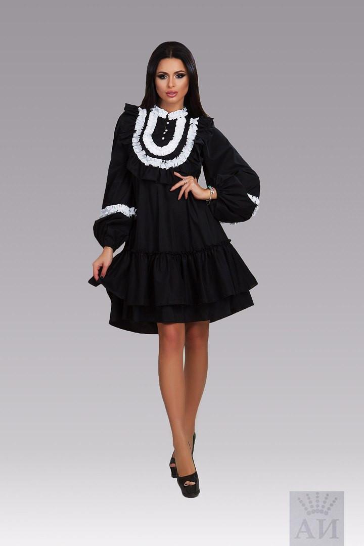 68be2604521 Модное свободное черное платье с белым кружевом