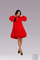 Модное свободное красное  платье  с рюшами и жемчужными пуговками  . Арт-9845/17