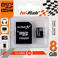 Карта памяти micro SD HI-RALI 8GB class 4 с адаптером SD