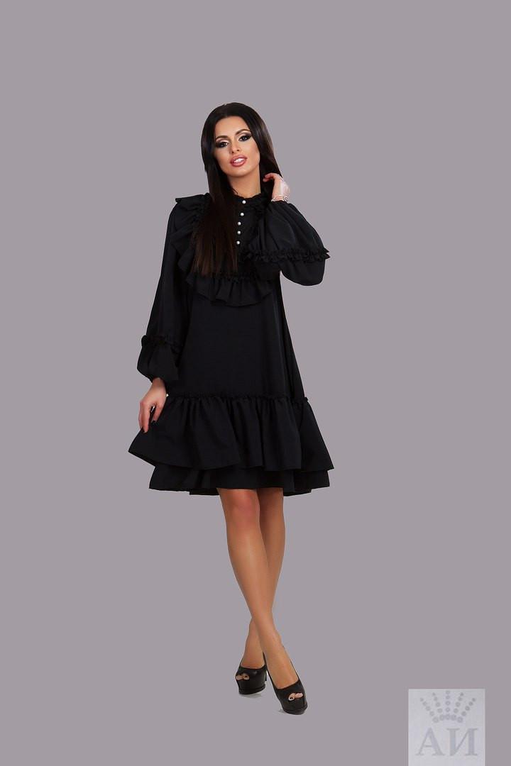 d5caa98792f Модное свободное черное платье с рюшами и жемчужными пуговками .  Арт-9845 17