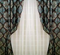 """Комплект штор """"Лорд"""" (вышивка)-2 шторы по 2м шириной"""