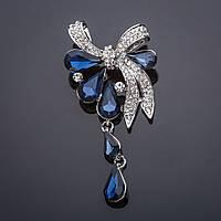 Брошь подвеска Бант синий кристалл