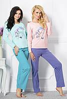 Пижама женская Silvia с длинным рукавом, персик/синий, XL/50, TM Taro