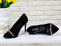 Туфли черные из натуральной итальянской замши на шпильке