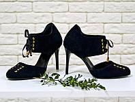 Туфли черные из натуральной кожи  на шпильке со шнуровкой