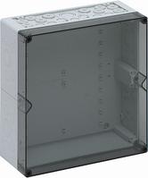 Корпус пластиковий «AKi 2-t» 300x300x132 мм сірий, з прозорою кришкою, полікарбонат
