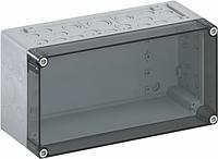Корпус пластиковий «AKi 1-t» 300x150x132 мм сірий, з прозорою кришкою, полікарбонат