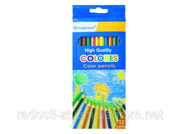 """Карандаши цветные 12 шт """"Hexagoner"""""""