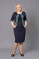 Батальное женское платье с имитацией болеро больших размеров