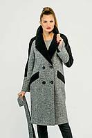 Комбинированное пальто с твидом
