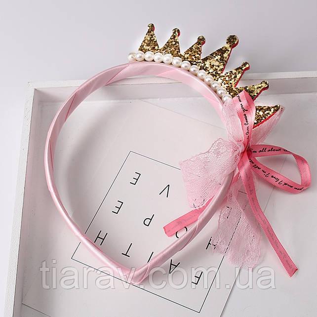 Детский обруч для волос корона золотая для девочек металлик