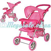 Детская прогулочная коляска для кукол 9366: корзина для игрушек + подставка