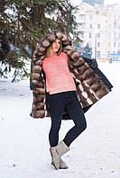 Парка женская с мехом куницы каменки, цвет плащевки черный, в наличии S. Сделана в Украине
