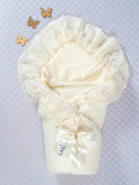 """Теплый нарядный конверт-одеяло для девочки, """"Мария"""", кремовый с кружевом"""