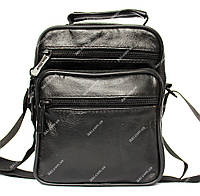 Мужская кожаная сумка через плечо черная (7022-і)