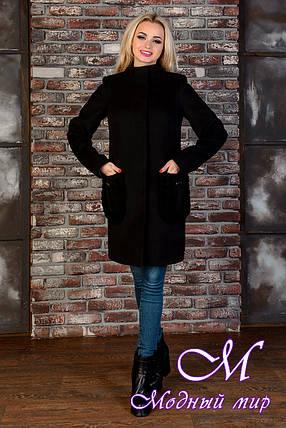 Строгое женское демисезонное пальто черного цвета (р.  XS, S, M) арт. Женева 9127, фото 2