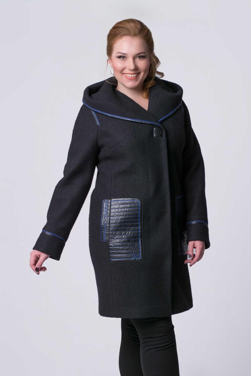 Женское шерстяное пальто с кожаной отделкой