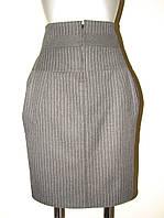 Юбка серая в полоску с карманами и высоким поясом Ю44