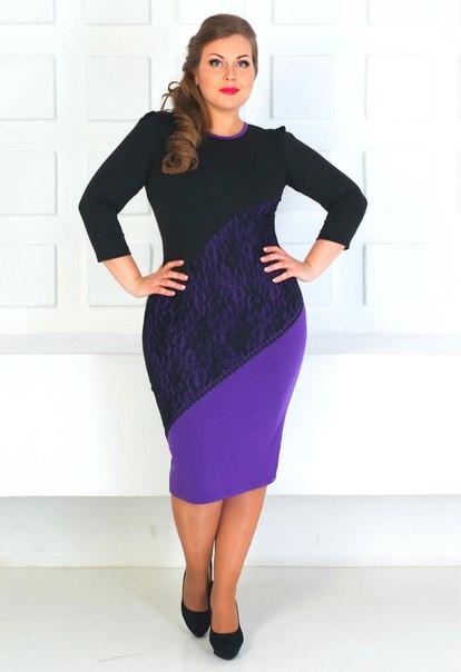4da5af8e303 Комбинированное платье миди большого размера с кружевной вставкой ...