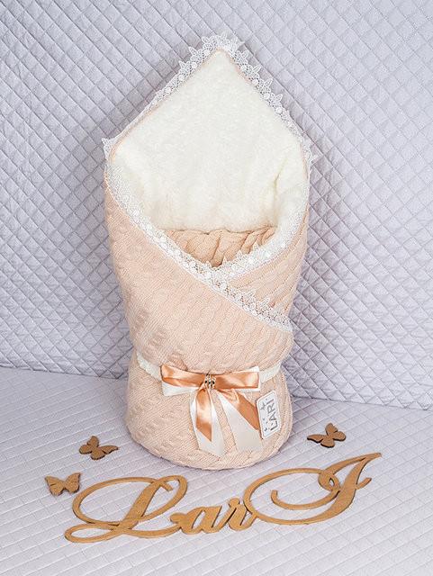"""Теплый конверт-одеяло для новорожденных """"Змейка"""" капучино"""