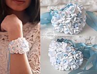 """Свадебный браслет с цветами """"Бело-голубые фрезии"""", фото 1"""