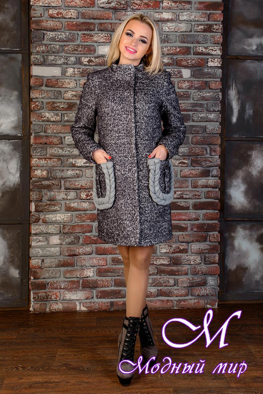 Демисезонное женское темно-серое пальто (р. S, M, L) арт. Женева крупное букле 9034