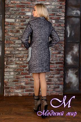 Демисезонное женское темно-серое пальто (р. S, M, L) арт. Женева крупное букле 9034, фото 2
