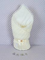 """Зимний конверт-одеяло на выписку, """"Змейка"""" кремовый"""