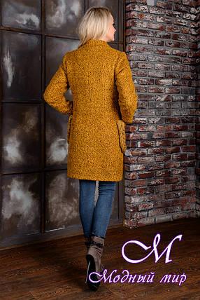 Демисезонное женское пальто цвета горчица  (р. S, M, L) арт. Женева крупное букле 9036, фото 2