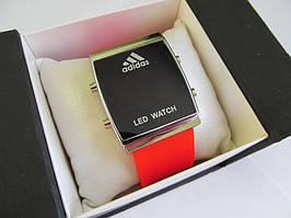 Спортивные часы Adidas LED WATCH, Адидас Лед красные ( код: IBW017R )