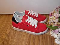 Кроссовки красные женские  эко-кожа