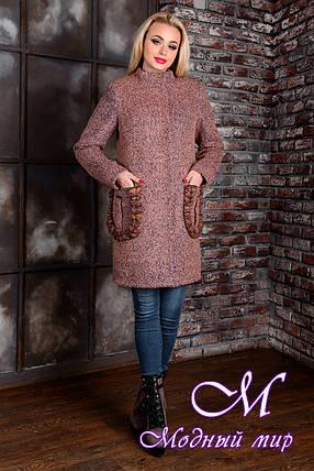 Демисезонное женское пальто цвета какао  (р. S, M, L) арт. Женева крупное букле 9141, фото 2