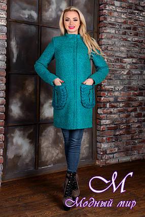 Демисезонное женское пальто цвета бирюза  (р. S, M, L) арт. Женева крупное букле 9142, фото 2