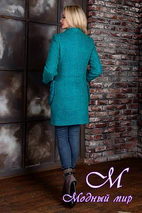Демісезонне жіноче пальто кольору бірюза (р. S, M, L) арт. Женева велике букле 9142, фото 2