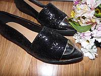 Слипоны балетки черные длинный носок метал 41 р