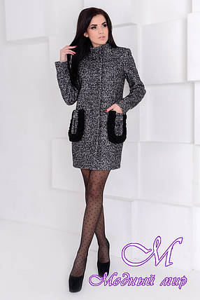Демисезонное женское пальто темного цвета (р. S, M, L) арт. Женева крупное букле 9178, фото 2