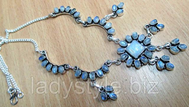купить колье ожерелье украшения с натуральным лунным камнем